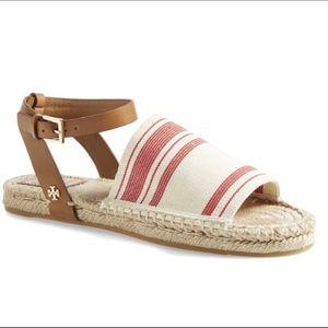 Tory Burch Stretch-Canvas Espadrille Sandals